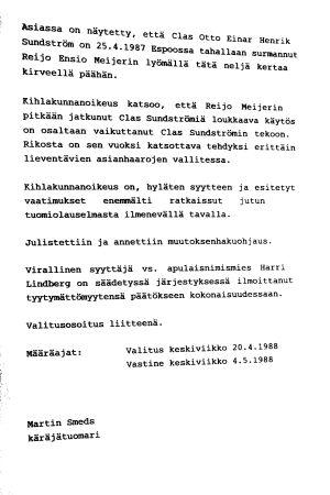 Clas Sundströms domslut