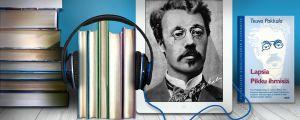 kirjojen ympärillä kuulokkeet, ipadin näytössä Teuvo Pekkala