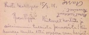 Aarre Merikannon kirje vankilasta 15.3.1918.