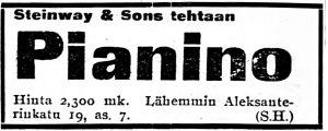 Ilmoitus sanomalehti Karjalassa marraskuussa 1916.