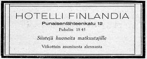 Hotelli Finlandian mainos Päivä Viipurissa -matkaoppaassa 1925.