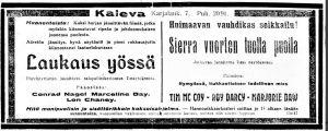 Elokuvateatteri Kalevan mainos.