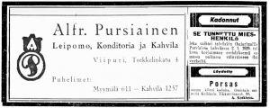 Sanomalehti-ilmoituksia: Pursiaisen kahvila, Kadonnut hattu, Löydetty porsas.