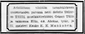 Tellervo Tillin ja Kauko Mankosen vihki-ilmoitus Karjala-lehdessä 3.1.1934.