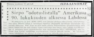 Uutinen Ilta-Sanomissa 15.9.1964: Sirpo odotuslistalle Amerikassa.