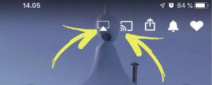 Kuvakaappaus iPhone-kännykän näytöltä: Yle Areena auki, korostettuna kaksi kuvaketta: Applen AirDrop-kuvake ja Chromecastin Cast-kuvake.