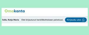 Kuvakaappaus omakanta.fi-sivulta: Kirjaudu-ulos painike löytyy oman nimen läheltä.