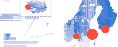 Illustrationsbild av de nordiska länderna.