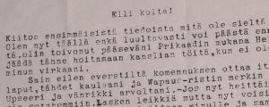 Wäinö Solan kirje.