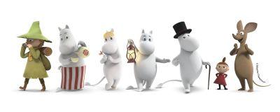 Muumilaakso-sarjan hahmoja vierekkäin valkoisella taustalla. Kuvassa vihreässä asussaan Nuuskamuikkunen, raidallisessa essussaan Muumimamma, Niiskuneiti, Muumipeikko, Muumupappa, pieni Pikku Myy ja innostunut Nipsu.