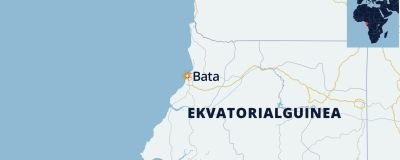 En karta över Ekvatoriala Guinea där staden Bata är utplacerad vid kusten.