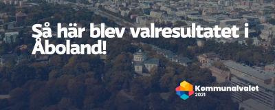 Text ovanpå en flygbild över Åbo. Texten säger: Så här blev valresultatet i Åboland