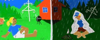 Illustration av midsommarväder.