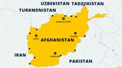 Karta över Afghanistan och grannländerna. På kartan är flygplatserna utmarkerade samt gränskontroller som talibanerna övervakar.