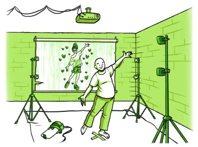 Mies liikekaappausteknologian äärellä tekemässä tanssiliikettä.