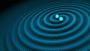 Illustrationsbild av gravitationsvågor från två neutronstjärnor.