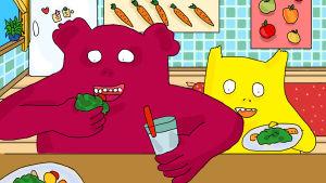 Animationen Hoppsorna. Den stora röda och den lilla gula borstar tänderna.