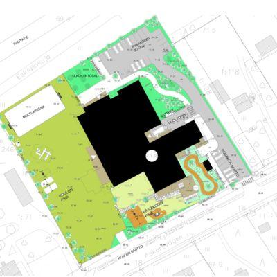 Karta över Svartå skolcentrum som planen ser ut i början av 2020.