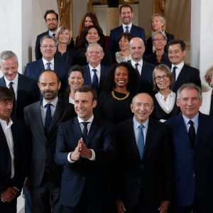 Den franska regeringen efter sitt första möte 18.5.2017