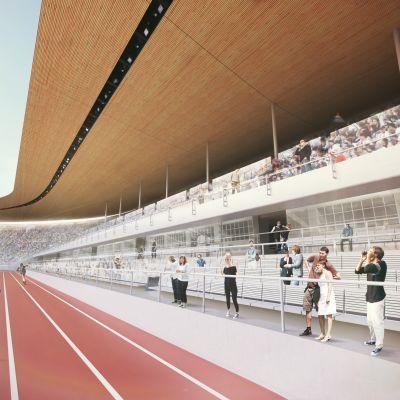 Kaavakuvat uudesta Olympiastadionista, takakaarre, katos