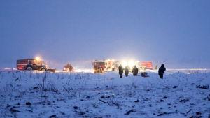 Utredningsarbetet försvåras av att det ligger så mycket snö på olycksplatsen dit inga vägar leder