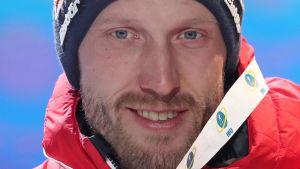 Dominik Landertinger vann VM-brons i Anterselva i februari.