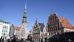 Vy från gamla stan i Lettlands huvudstad Riga