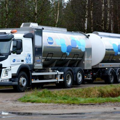 Maitoauto saapuu tilalle