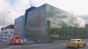 Sjukhuset i St. Michel blev klart 2018, med en färgglad fasad.