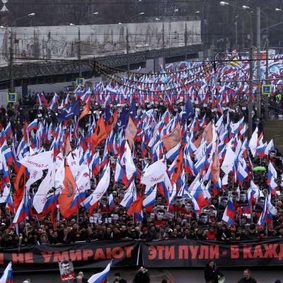 Minnesmarsch för Boris Nemtsov i Moskva den 1 mars 2015.