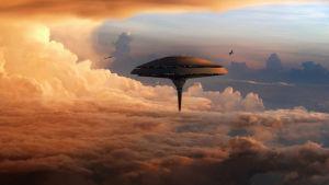 Konstnärlig vision av framtida svävande koloni på Venus.