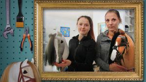 Julia ja Virva tekevät keppihevosia