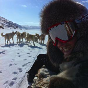 Tom Nylund med hundar på Grönland.