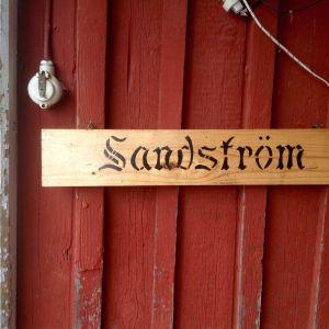 Sandström, skylt