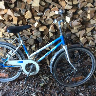 En blåvit barncykel