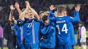 Isländarna firar efter slutsignalen.