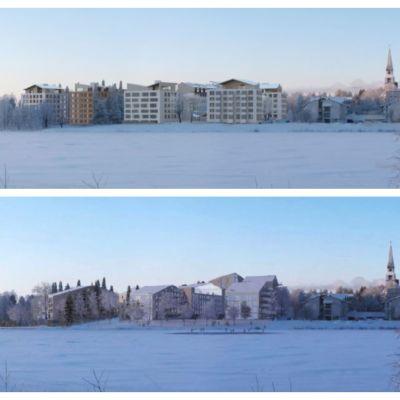 Havainnekuvat Rovaniemen Sairaalanniemen rakentamissuunnitelmista