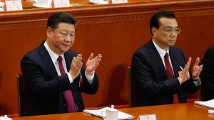 Xi Jinping och Li Keqian.