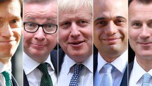 De fem kvarvarande kandidaterna i kampen om Tories partiledarpost, från vänster till höger: Rory Stewart, Michael Gove, Boris Johnson, Sajid Javid och Jeremy Hunt.