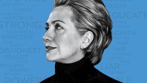 Hillary Rodham Clinton -dokumentin graafisessa markkinointikuvassa Hillary Clinton mustassa poolopaidassa sinistä taustaa vasten.