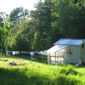 ett blåmålat hus som byggts direkt på botten av en gammal husvagn, sommar, bykstreck med kläder på tork.