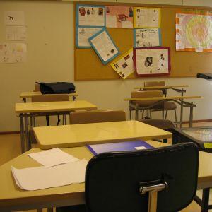 Ett tomt klassrum i St Olofsskolan i Åbo