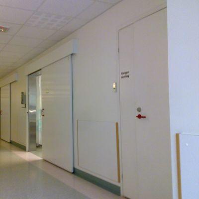 En sjukhuskorridor med dörrar till undersökningsrum.