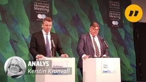 Guðlaugur Þór Þórðarson och Timo Soini på Arktiska rådets möte.