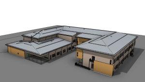 arkitektbild över det nya skolhuset i lovisa