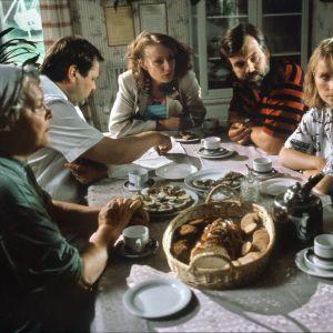 Metsolat-sarjan perhettä kahvipöydän ympärillä