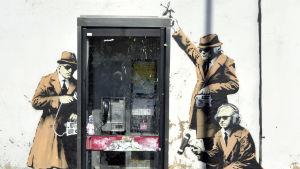 Banksys konstverk i Cheltenham, Storbritannien.