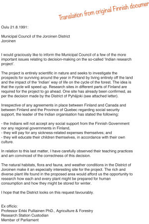 The letter MP and Professor Erkki Pulliainen sent to Finnish municipalities about his research project, 21 August 1991.