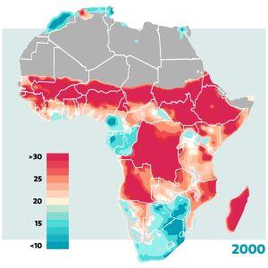 Karta över undernärda barn i Afrika. Visar procentuellt förekomsten av barn med moderat eller allvarlig undervikt år 2000.