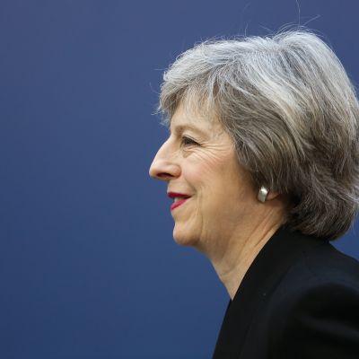 Storbritanniens premiärminister Theresa May i profilbild mot blå bakgrund.